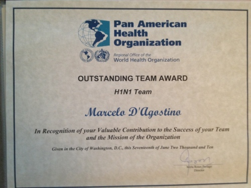 Award PAHO/WHO - H1N1 Team member