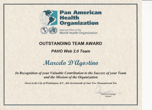 Award PAHO/WHO Web 2.0 team